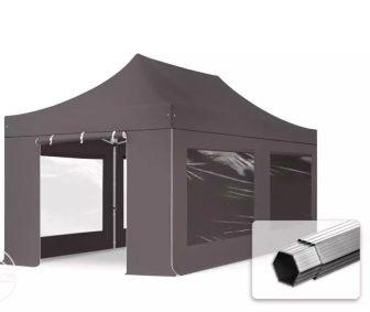 Professional összecsukható sátrak PROFESSIONAL 400g/m2 ponyvával, alumínium szerkezettel, 4 oldalfallal, panoráma ablakkal - 3x6m sötétszürke