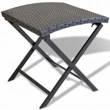 VID Összecsukható polyrattan kerti szék fekete