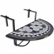 Mozaik erkélyi félköríves asztal fekete