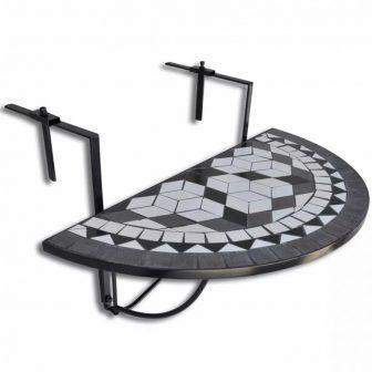 VID Mozaik erkélyi félköríves asztal fekete