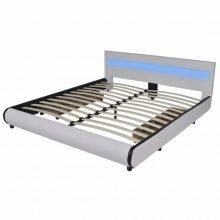 """PU bőr ágy 180x200 cm """"V11"""" LED világítással, ágyneműtartóval, fehér színben"""
