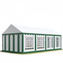 TP Professional deluxe 4x8m nehéz acélkonstrukciós rendezvénysátor erősített tetőszerkezettel zöld-fehér