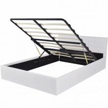 """PU bőr ágy 140x200 cm """"V17"""" ágyneműtartóval, fehér színben"""