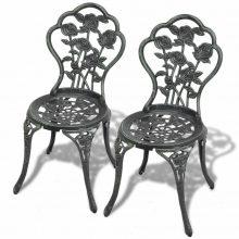 2db öntött alumínium szék - zöld