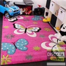 Gyerekszoba szőnyeg - pillangós - élénk rózsaszín - több választható méret
