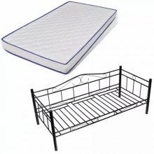 VID Acélkonstrukciós ágy ágyráccsal 90x200cm, memóriamatraccal, fekete színben!