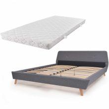 VID Kárpitozott ágy ágyráccsal, matraccal, 160x200 cm, világosszürke színben