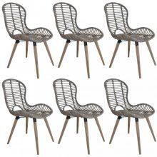 VID 6 db barna természetes rattan kültéri szék