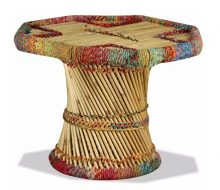 VID bambusz dohányzóasztal sokszínű chindi mintával