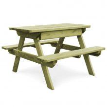 VID impregnált fenyő piknik asztal padokkal 90 x 90 x 58 cm