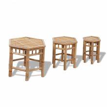 3 db hatszögletű bambusz kerti szék