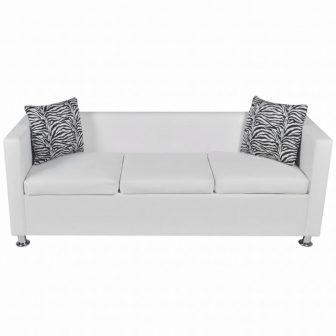 VID Fehér háromszemélyes műbőr kanapé zebramintás párnával