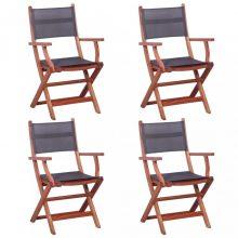 VID 4 darab szürke tömör eukaliptusz fa és textilén kültéri szék