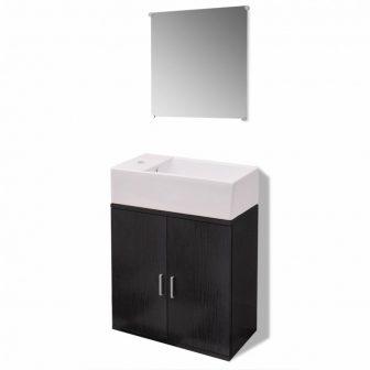 VID 3 részes fürdőszoba bútor szett fekete színben