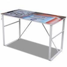 Mintás üveglapú íróasztal - route 66 mintával