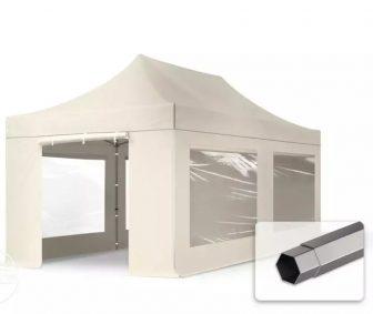 Professional összecsukható sátrak PREMIUM 350g/m2 ponyvával, acélszerkezettel, 4 oldalfallal, panoráma ablakkal - 3x6m bézs