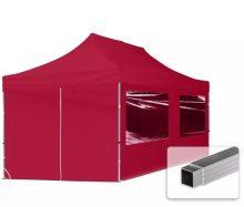 Professional összecsukható sátrak ECO 300 g/m2 ponyvával, alumínium szerkezettel, 4 oldalfallal - 3x6m bordó