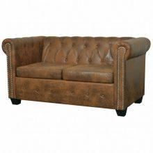 Barna chesterfield kétszemélyes műbőr kanapé