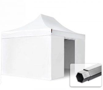 Professional összecsukható sátrak PROFESSIONAL 400g/m2 ponyvával, alumínium szerkezettel, 4 oldalfallal, ablak nélkül - 3x4,5m fehér