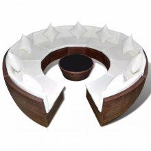 Kör alakú polyrattan ülőgarnitúra barna
