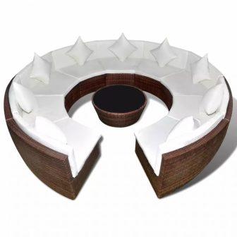VID Kör alakú polyrattan ülőgarnitúra barna 879181