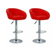 2db emelhető lounge szék/bárszék - piros színben