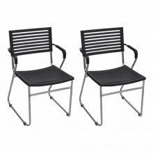 2 db egymásba rakható szék fekete színben