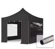 Professional összecsukható sátrak PREMIUM 350g/m2 ponyvával, acélszerkezettel, 4 oldalfallal, panoráma ablakkal - 3x3m fekete
