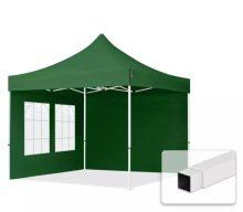 Professional összecsukható sátrak ECO 3300g/m2 ponyvával, acélszerkezettel, 2 oldalfallal - 3x3m zöld