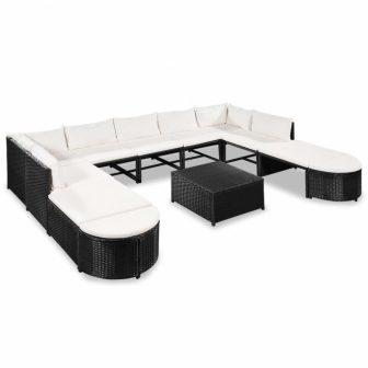 VID 32 darabos fekete-krémfehér kerti polyrattan ülőgarnitúra 885712