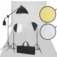 Stúdió felszerelés -  Fehér háttérvászon, 3 db softbox, 1 db reflektor