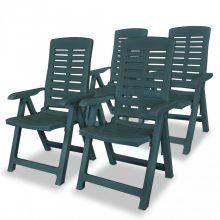 VID 4 db zöld dönthető műanyag kerti szék