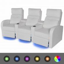 VID 3 személyes műbőr kanapé LED fénnyel fehér