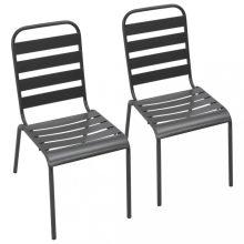 VID 2 db szürke rakásolható acél kültéri szék