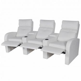 VID 3 személyes tv néző fotel pohártartóval Fehér