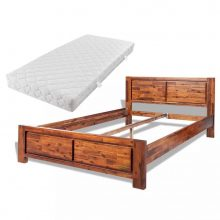 VID Okvir za krevet od bagremovog drva s madracem smeđi 140 x 200 cm