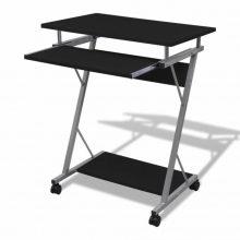 Fekete kompakt íróasztal billentyűzet tartóval