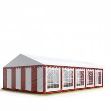 TP Professional deluxe 5x10m nehéz acélkonstrukciós rendezvénysátor erősített tetőszerkezettel piros-fehér