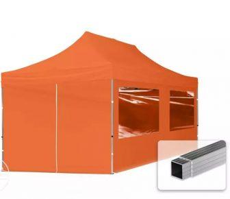 Professional összecsukható sátrak ECO 300 g/m2 ponyvával, alumínium szerkezettel, 4 oldalfallal - 3x6m narancssárga