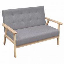 VID Szürke retró stílusú fa kanapé