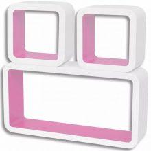 """VID 3 db-os polc szett """"Miami' 02 fehér-rózsaszín"""