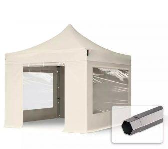 Professional összecsukható sátrak PREMIUM 350g/m2 ponyvával, acélszerkezettel, 4 oldalfallal, panoráma ablakkal - 3x3m bézs