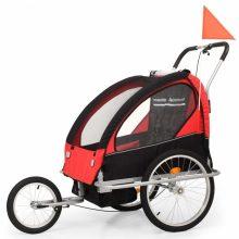 VID 2 az 1-ben fekete/piros kerékpár utánfutó és babakocsi