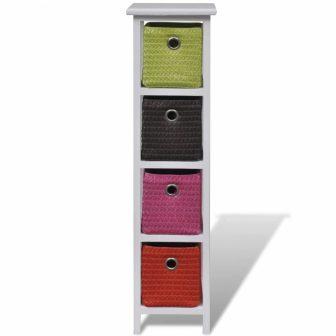 VID 4 polcos állvány színes tárolókosarakkal
