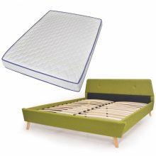 VID Kárpitozott ágy ágyráccsal, memóriahabos matraccal, 140x200 cm, zöld színben