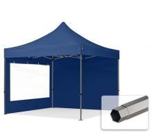 Professional összecsukható sátrak PREMIUM 350g/m2 ponyvával, acélszerkezettel, 2 oldalfallal, panoráma ablakkal - 3x3m sötétkék