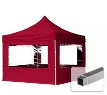 Professional összecsukható sátrak ECO 300 g/m2 ponyvával, alumínium szerkezettel, 4 oldalfallal + 4 ablakkal - 3x3m bordó