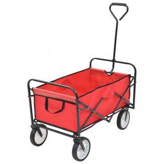 VID összecsukható piros acél kézikocsi, kertikocsi, strandkocsi