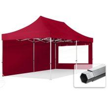 Professional összecsukható sátrak PROFESSIONAL 400g/m2 ponyvával, alumínium szerkezettel, 2 oldalfallal, panoráma ablakkal - 3x6m bordó