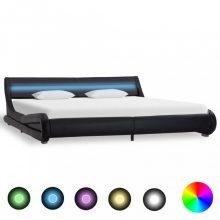VID fekete LED-es műbőr ágykeret 180x200 cm